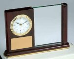 Piano Finish Mahogany Rectangle Clock with Glass Sales Awards